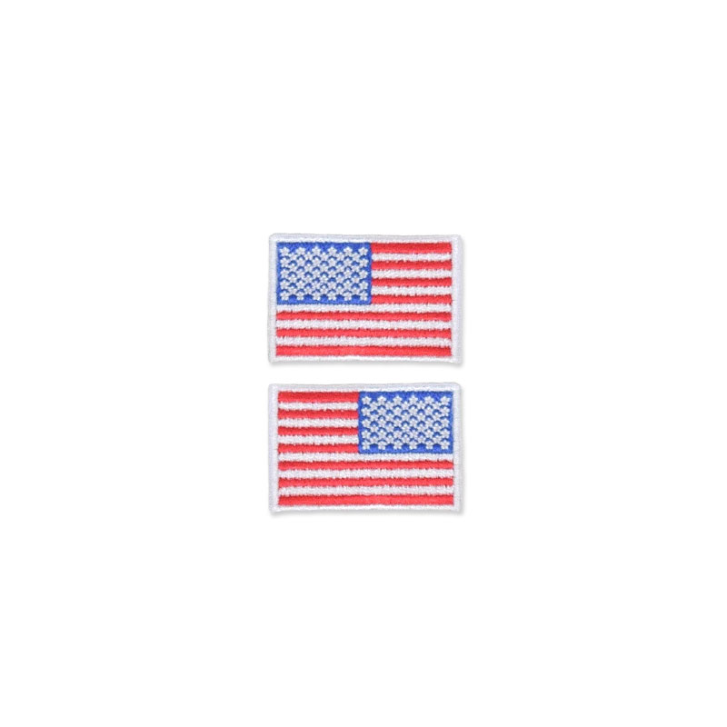 US Flag Patch - 1.5 x 1, White, Small Lapel