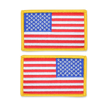 US Flag Patch - 3.5 x 2.125, Gold, Standard Shoulder Size