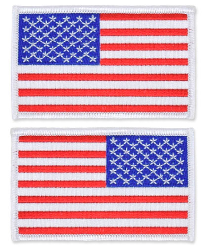 US Flag Patch - 3.5 x 2.125, White, Standard Shoulder