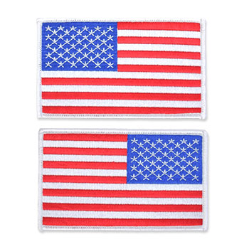 US Flag Patch - 5 x 3, White, Large