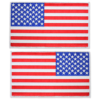 US Flag Patch  - 8.5 x 5, White, XL Jumbo